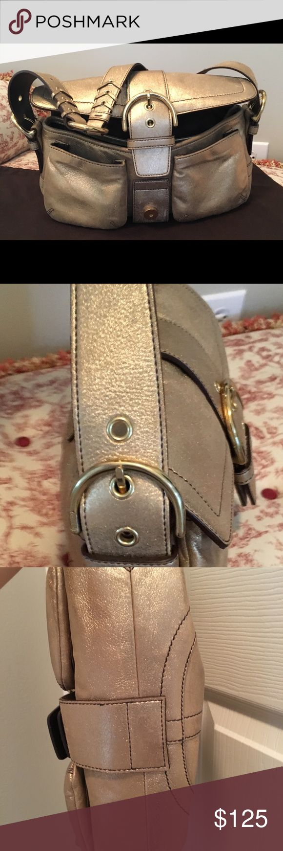 Vintage gold coach handbag This is an authentic coach handbag from circa 2003. Carried once to the Fernando Vargas fight at the All State arena.  Perfect condition! Coach Bags Shoulder Bags