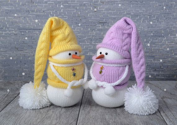 Christmas decoration MADE TO ORDER Knit Snowmen от NeighborKitty