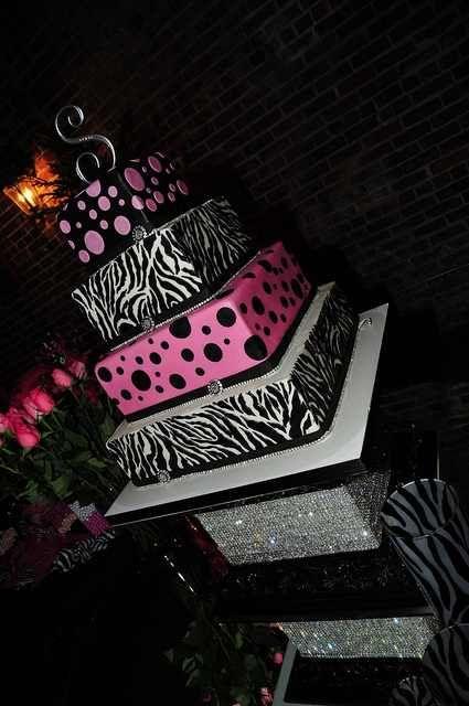 this cake SCREAMS my name! pink and black, zebra, monogram!?! yes, please!