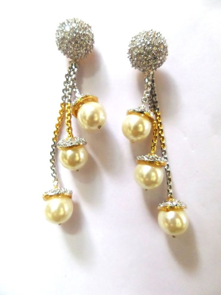 Designer Dancing Dangle CZ Yellow Pearl Earring cum Tops 2 in 1 18K Gold Filled #ShouryaExports #DropDangle