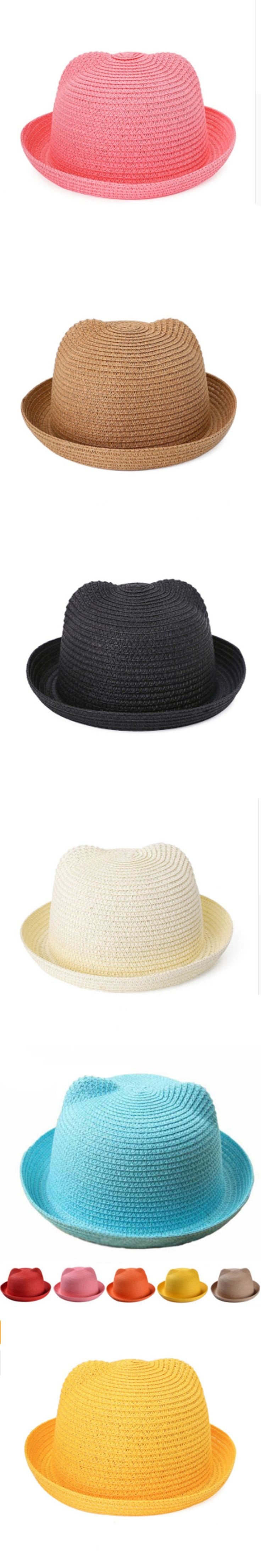 Good Straw Hats Kids Character Ear Decoration Summer Cap Baby Sun Hat for Girls Boys Solid Bucket Cap for Children Beach Hat