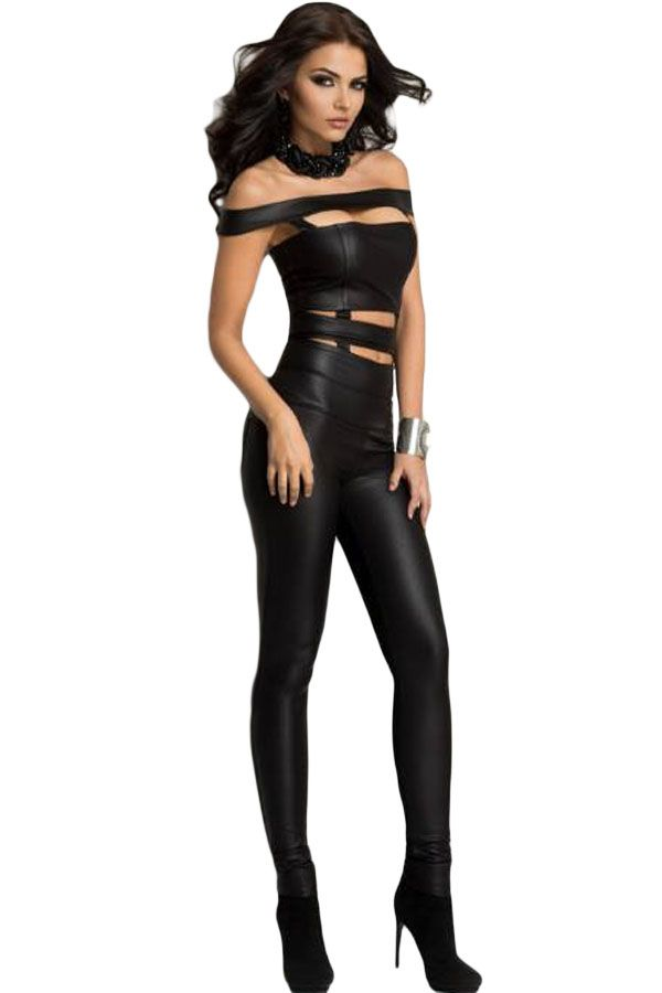 2016 New Fashion Romper Black Cutout Off Shoulder Faux Leather Jumpsuit Plus Size Sexy Bandage Overalls Bodysuit Jumpsuit E60870-in Jumpsuits & Rompers from Women's Clothing & Accessories on Aliexpress.com | Alibaba Group