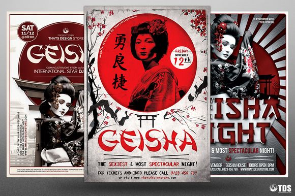 Geisha Party Flyer Bundle V2 by Thats Design Store on @creativemarket