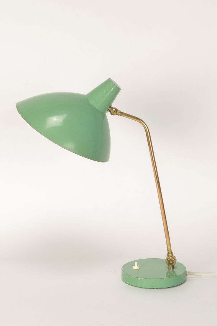 Alfred Müller; Brass and Enameled Metal Table Lamp for AMBA, 1950s.