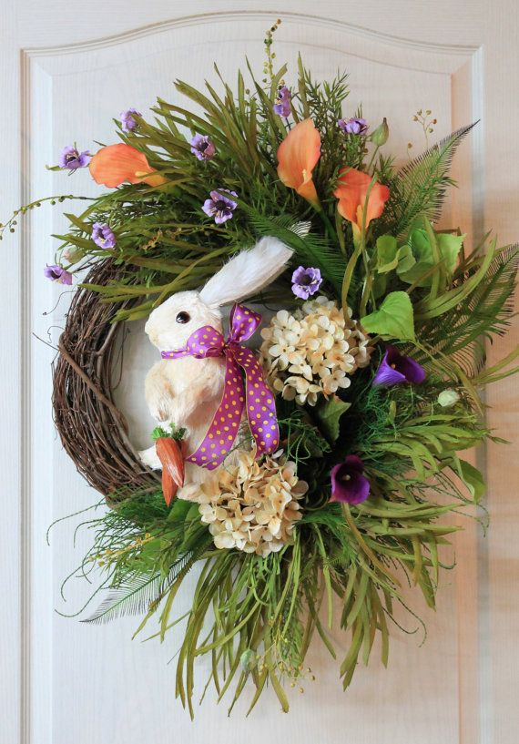 Easter Bunny Wreath Straw Bunny Hydrangeas by FloralsFromHome