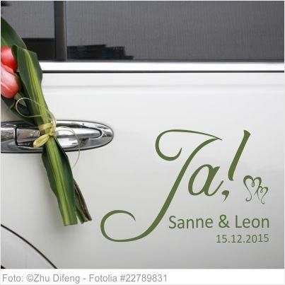 Autoaufkleber Hochzeit Ja mit Vornamen und Datum 04