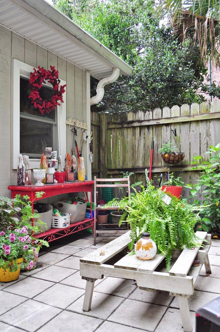 Garden work bench. painted wicker. #Anthropologie #PintoWin