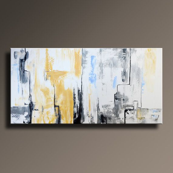 """48"""" Large ORIGINAL ABSTRACT Yellow Gray White Black Painting on Canvas Contemporary Abstract Modern Art wall decor - Unstretched"""