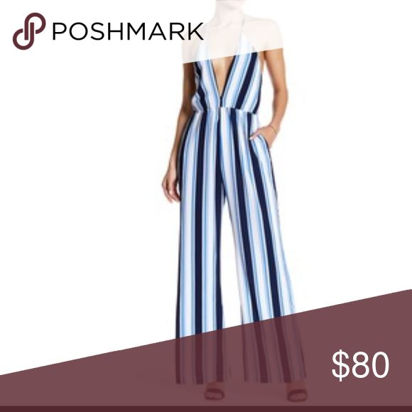 Plunging neckline blue and white jumpsuit Sexy summer jumpsuit that is very hard to come by! Looks amazing on if you're willing to wear this sexy plunging neckline ! Lucca Couture Dresses Maxi