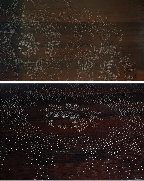 Table with nails creating the design: Sandback Photos, Floral Patterns, Silhouette Studios, Ideas Ten, Table Patterns