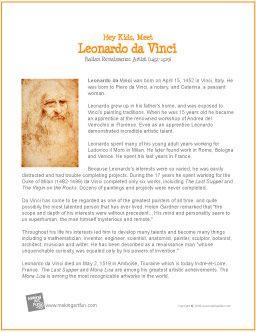 Leonardo da Vinci | Printable Biography for Kids - http://makingartfun.com/htm/f-maf-printit/davinci-printit-biography.htm