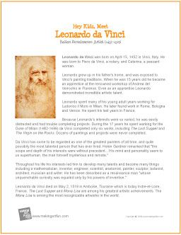 Leonardo da Vinci | Printable Biography for Kids - http://makingartfun.com/htm/f-maf-printit/davinci-printit-biography.htm