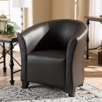 Jackson Transitional Dark Brown Faux Leather Upholstered Accent Chair