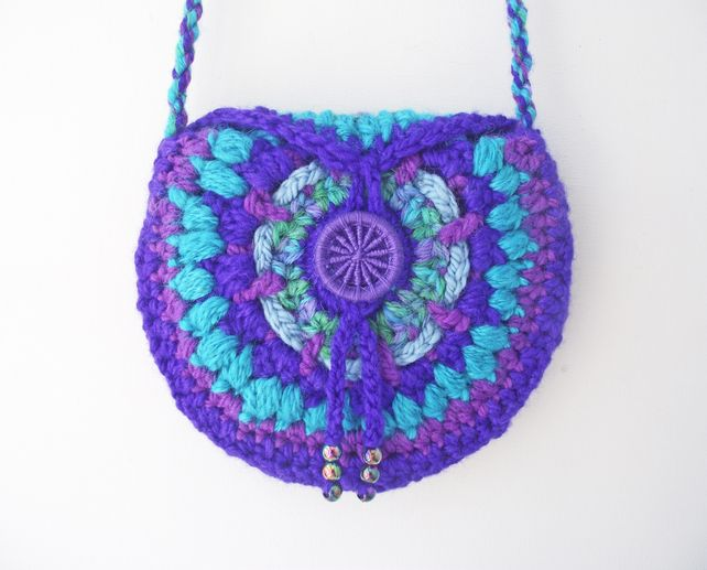 Crochet Handspun Circular Lined Crossbody Boho Festival Hippie Hip Bag £16.00