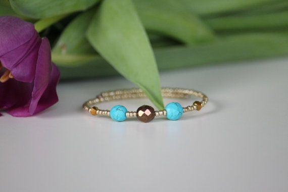 Golden beaded memory bacelet turquoise beads by DeaJewelryStore