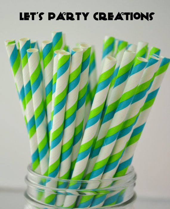 Blue and Lime Green Paper Straws 25 LIME and by LetsPartyCreations, $4.00