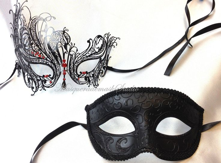 Black Swan Masquerade mask Set - Luxury Venetian Filigree Laser Cut Half Face Mask Set for Men and Women by MasquerademaskStudio on Etsy
