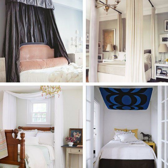 10 Ways To Get the Canopy Look Without Buying a New Bed... kind of like the on in the bottom-left corner.