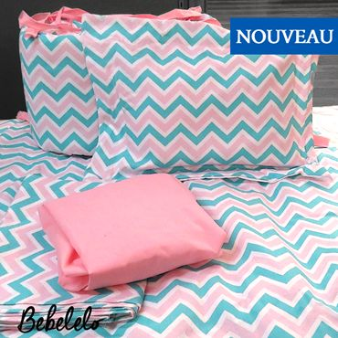 7 Pcs Aqua and Pink Zigzag Baby bedding Fun and fabulous. This hip Zigzag features tonal shades of Aqua along with a girly pink. Made from 100% cotton this fabric is the perfect compliment to any decor.  #zigzag #chevron #pink #aqua #babybedding