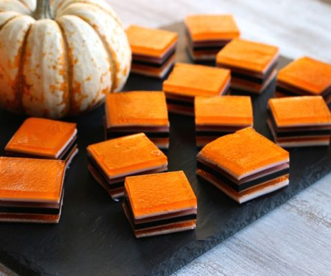 Halloween treats - layered Jello treat that color coordinated for fall/Halloween