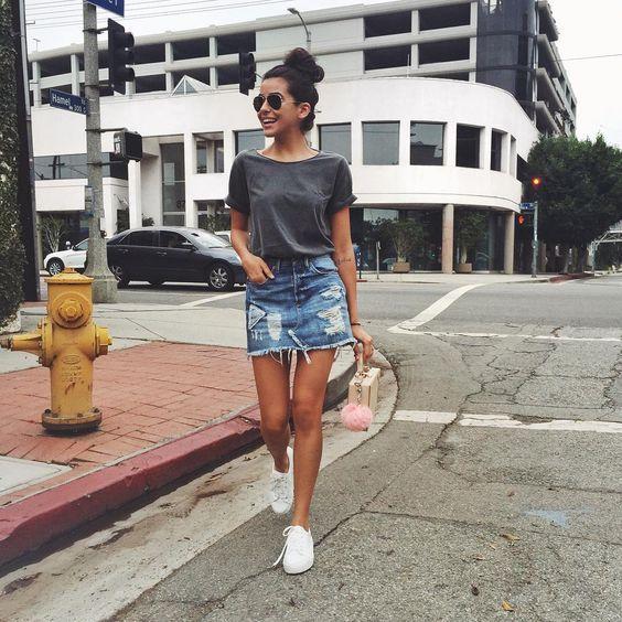 Guita Moda: Dupla estilosa: Saia jeans com tênis