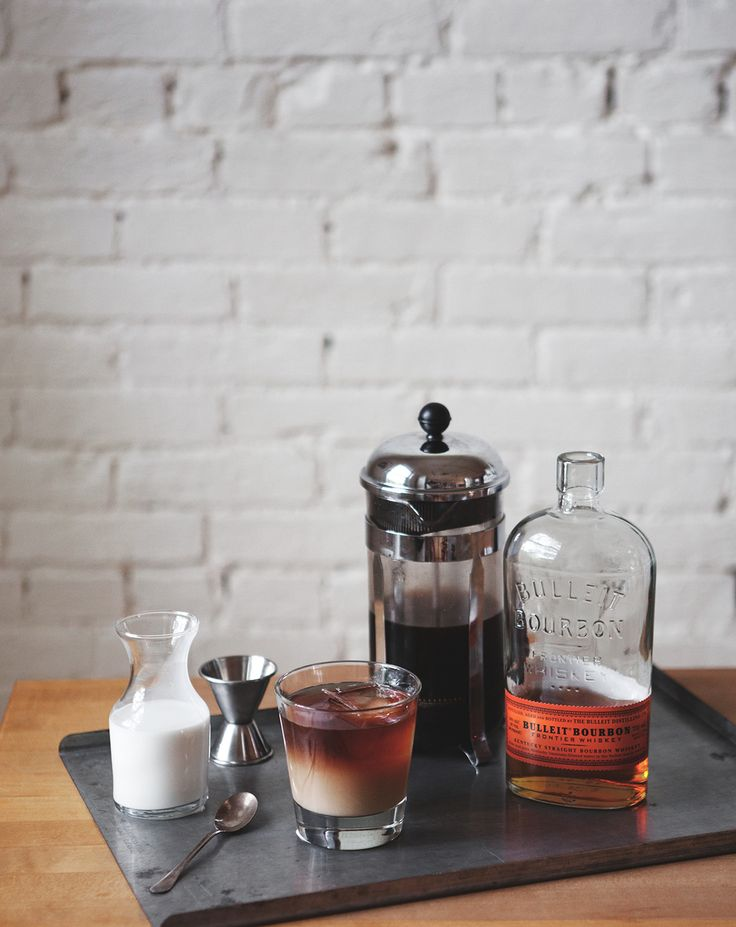 Cold Brew Bourbon Cocktail. Simple syrup, bourbon, cold brew coffee, heavy cream.