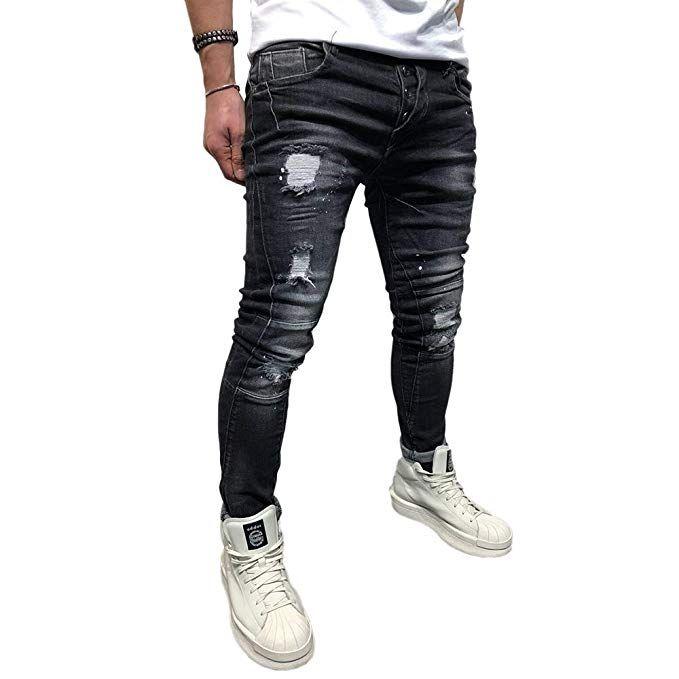 materiale selezionato diversificato nella confezione prezzo all'ingrosso BMEIG Jeans Skinny da Uomo Strappati Stretch Denim Pants ...