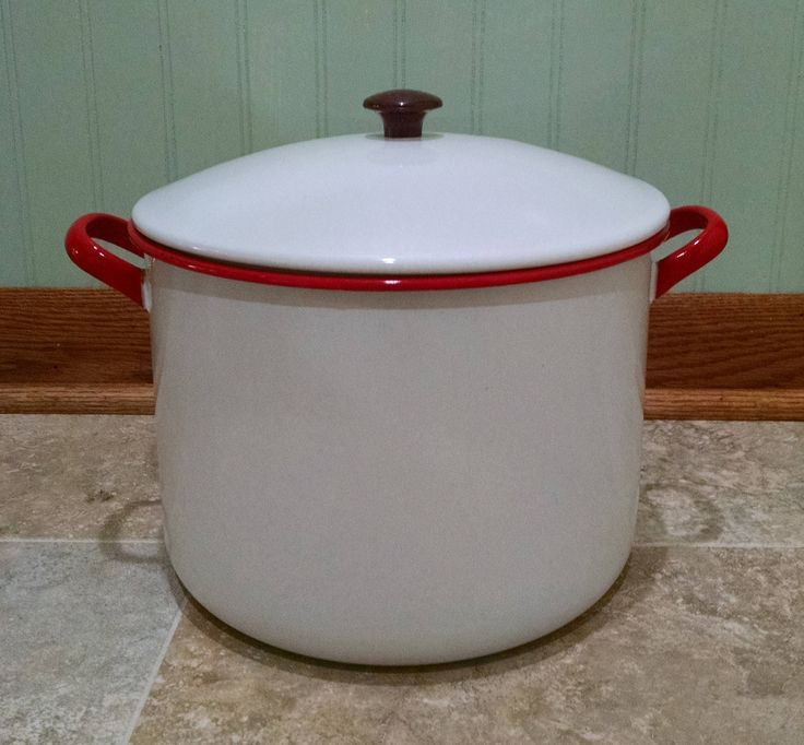 Enamelware Pot - Red and White Stockpot - Large Vintage Cookware Pan with Lid - Country Farmhouse Shabby Chic Decor by ClassyVintageGlass on Etsy