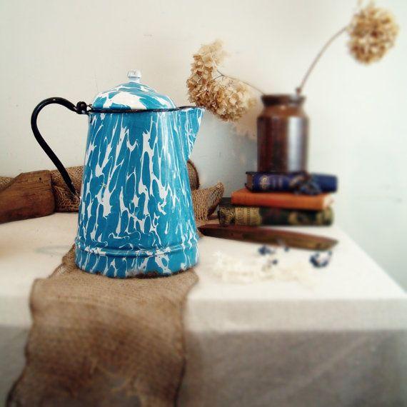 Enamelware swirl coffee pot circa 1920 by goseek on Etsy: Blue Granitewar, Swirls Coffee, Enamelware Swirls, Granitewar Blue, Coffee Pots Cups, 1920 Enamelware, Circa 1920, Granite Enamels Ware, Coff Pots