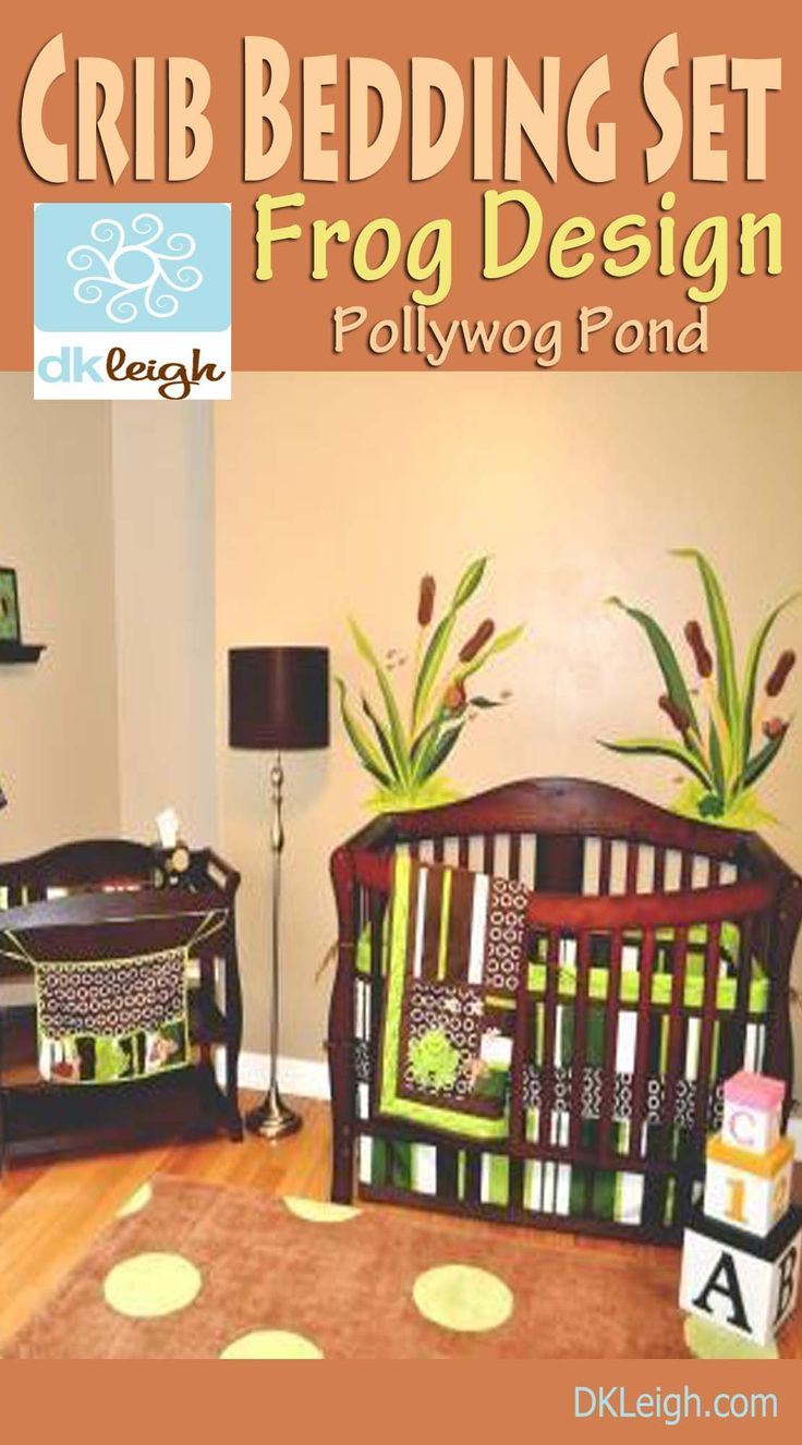 Leigh gender neutral 10pc owl baby crib bedding set grey yellow green - The Frog Nursery Crib Bedding Set By Dk Leigh Is In The Trendy Nursery Colors Of Brown Green Lime Green This Crib Bedding Is Part Of Our Pollwog Pond Set