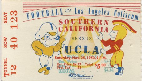 1950 NCAAF USC UCLA ticket stub