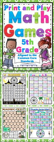 Math Games and Centers: 5th Grade Print and Play (No Prep) Make math class something to look forward to with these super fun math games! This set of 50+ games are aligned to the Common Core Standards. The games are all 1 page, with a spinner on the page. All you need to do is print and play! $