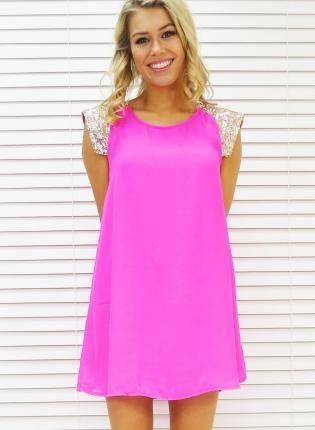 Neon pink dress with sequin cap sleeves