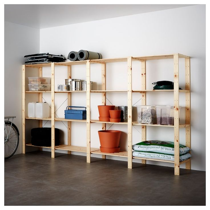 HEJNE 4 Section Shelving Unit - Softwood