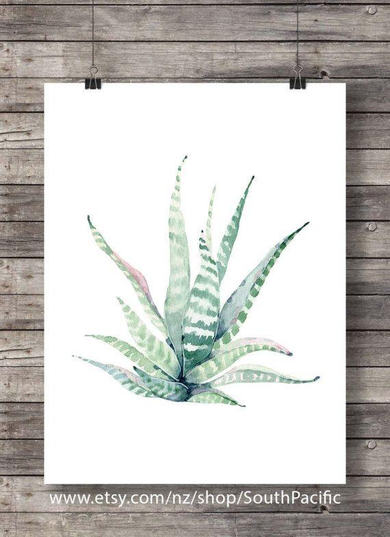 Printable art Cacti succulent art print Pastel Watercolor