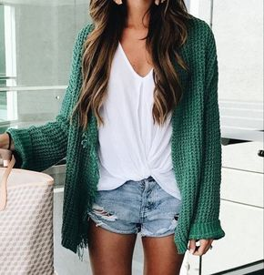 Solid knit cardigan + solid t-shirt + jean shorts