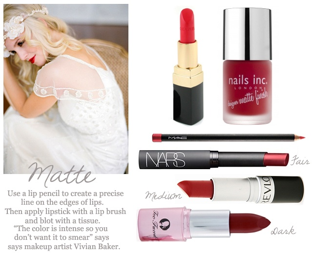 Matte Red Lips with Matching Nails, Wedding Makeup