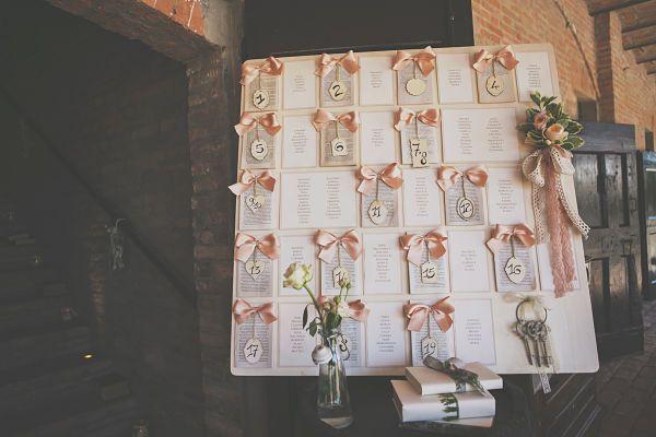 Tableau matrimonio a tema libri e chiavi antiche