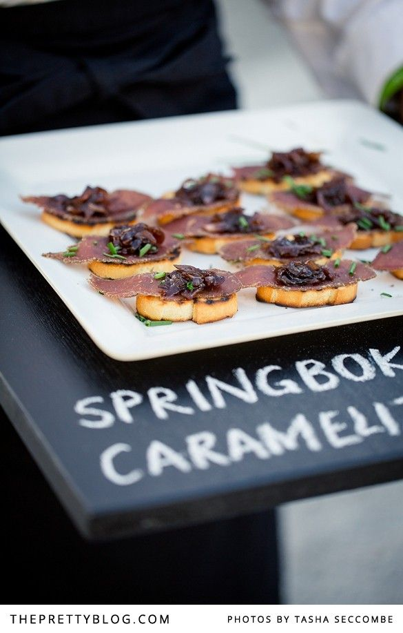 Springbok & caramelised onion canapés | Photographer: @Tasha Seccombe, Venue & Catering: Rockhaven