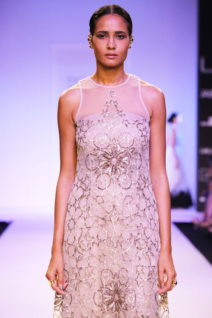 MOROCCO Stone Tulle Embroidered Gown with Mocha Lotus Brocade Tube Dress www.payalsinghal.com/off-the-runway/morocco