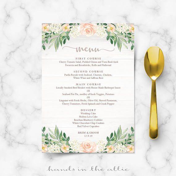 68 best Wedding Menu Cards images on Pinterest Wedding menu - wedding menu template