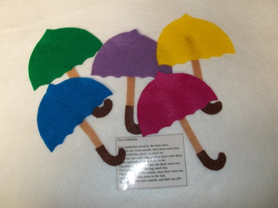 Five Umbrellas by MissKellysFelt on Etsy, $4.00