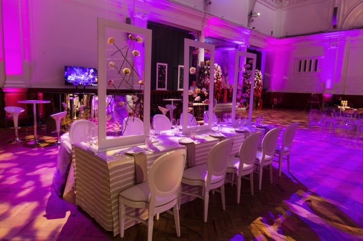 Wedding set up at The Lindley Hall. Royal Horticultural Hall. Central London Wedding Venue.