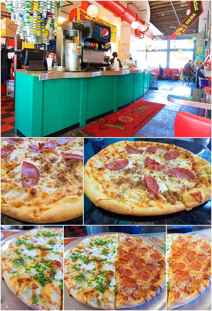 Two Boots Pizza - Nashville, TN - authentic NY Pizza in the heart of Nashville - can get pizza by the slice or get a whole pizza and share. Tastes great! Don't miss the Nashville exclusive Miss Kitty - topped with Hattie B's hot chicken!!