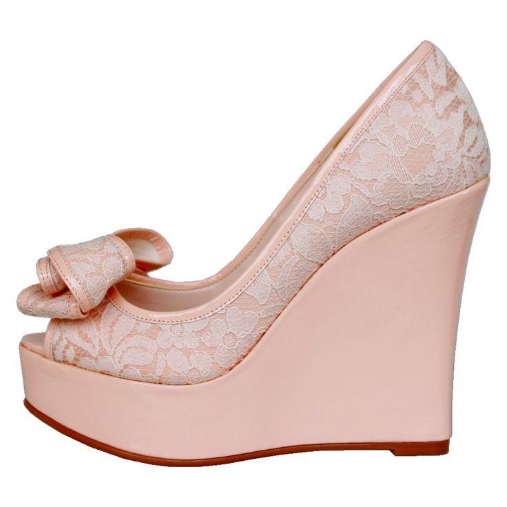 レース ヴァレンティンリボン パテント ウェッジソール パンプス | ♥Wedding shoes (ウェディングシューズ) | | Monroeモンロー e-salon 【公式通販サイト】