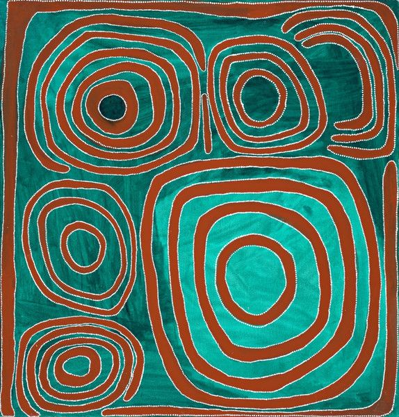 Mawukura Jimmy Nerimah ~ Untitled, 2000 abstract art aqua turquoise teal brown