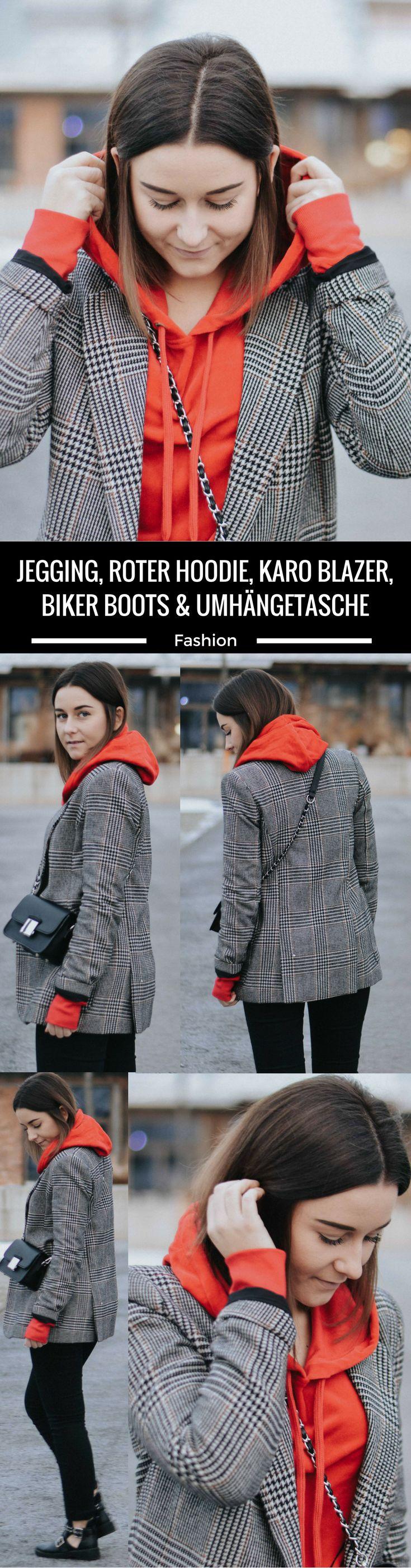 Jegging, roter Hoodie, Karo Blazer, Biker Boots & Umhängetasche