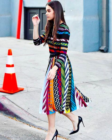 Shop now. Hayleigh Steinfeld wearing Mary Katrantzou. Available on Style.com