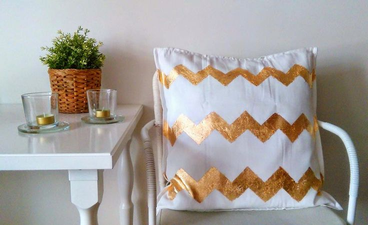 DECORACION FACIL: Diy: Cojín de Chevron con pan de oro