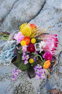 North Dakota Handmade Inspired Vow Renewal: Unique bouquet